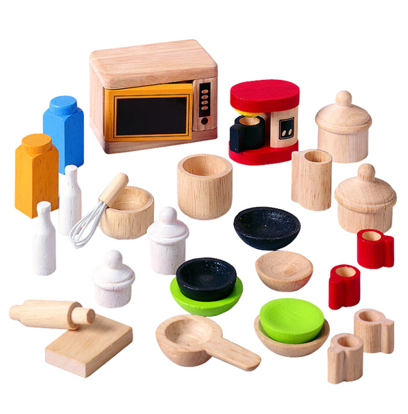 kitchen accessories toys plan toys dollhouse kitchen accessories and tableware 2155