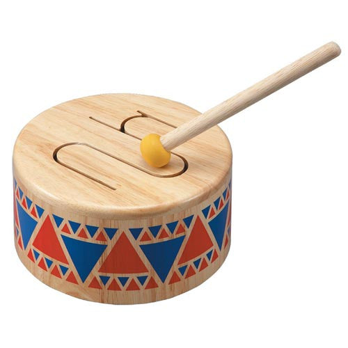 Plan Toys Solid Drum, Wooden Toy Drum