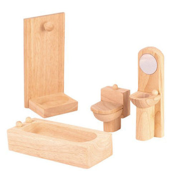 Wooden Dollhouse Furniture, Plan Toys, Bathroom