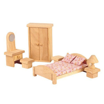 Wooden Dollhouse Furniture, Plan Toys, Classic Bedroom