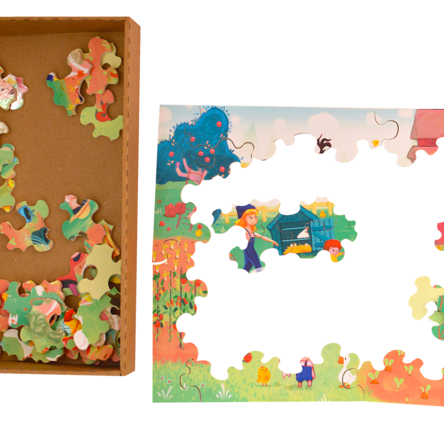 Pumpkin Family Wooden Puzzle - Made in France - Bella Luna Toys
