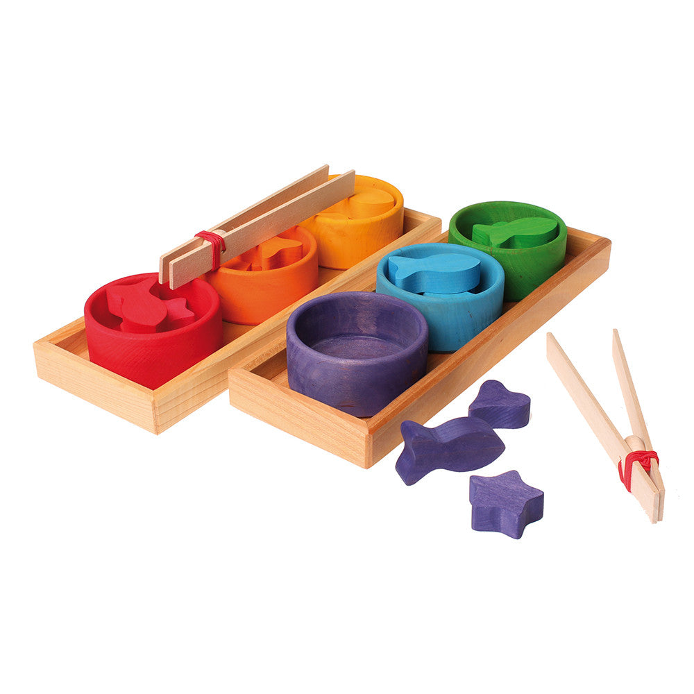 Grimm's Spiel & Holz Rainbow Bowls Sorting Game - Wooden Toys
