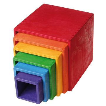 Grimm's Rainbow Nesting Boxes - Wooden Stacking Cubes