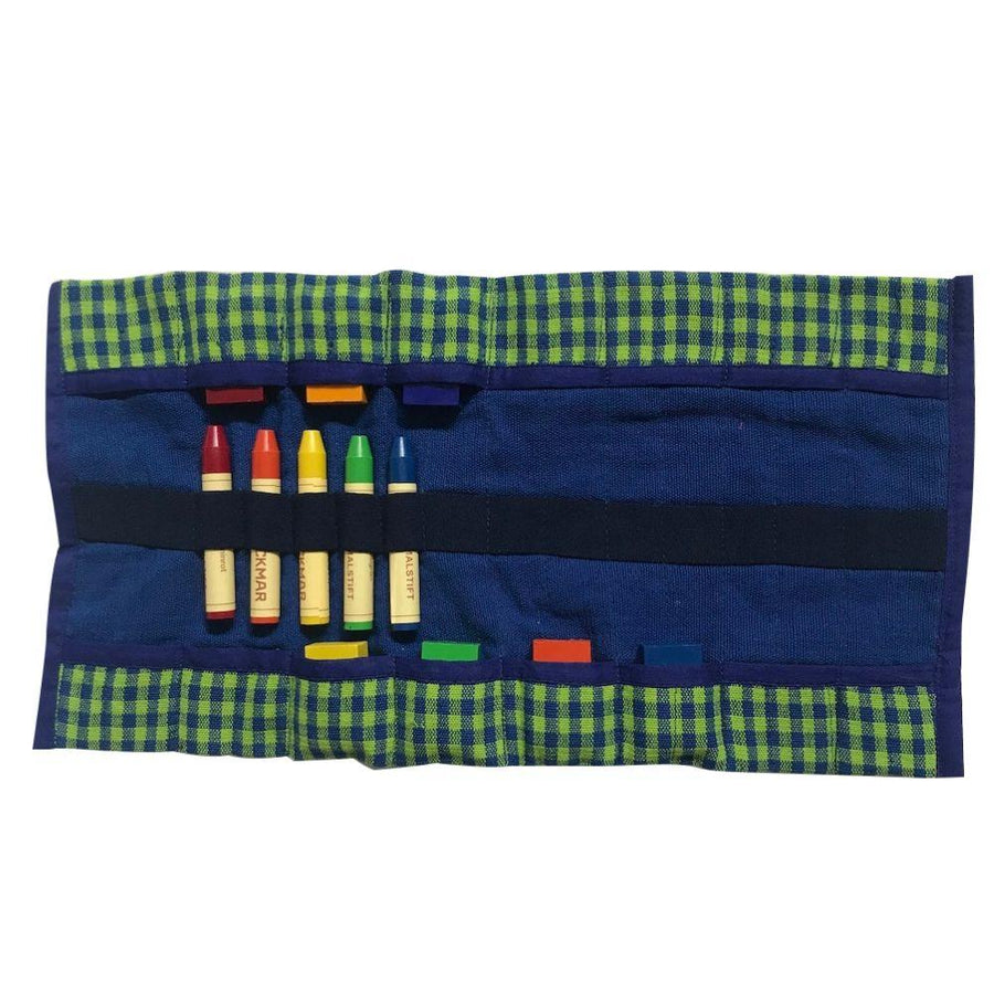 Crayon Roll - Green Gingham - Bella Luna Toys