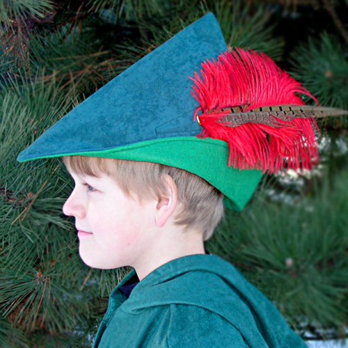 Robin Hood Hat - Forest Green with Red Feather f21bdc4fbe5