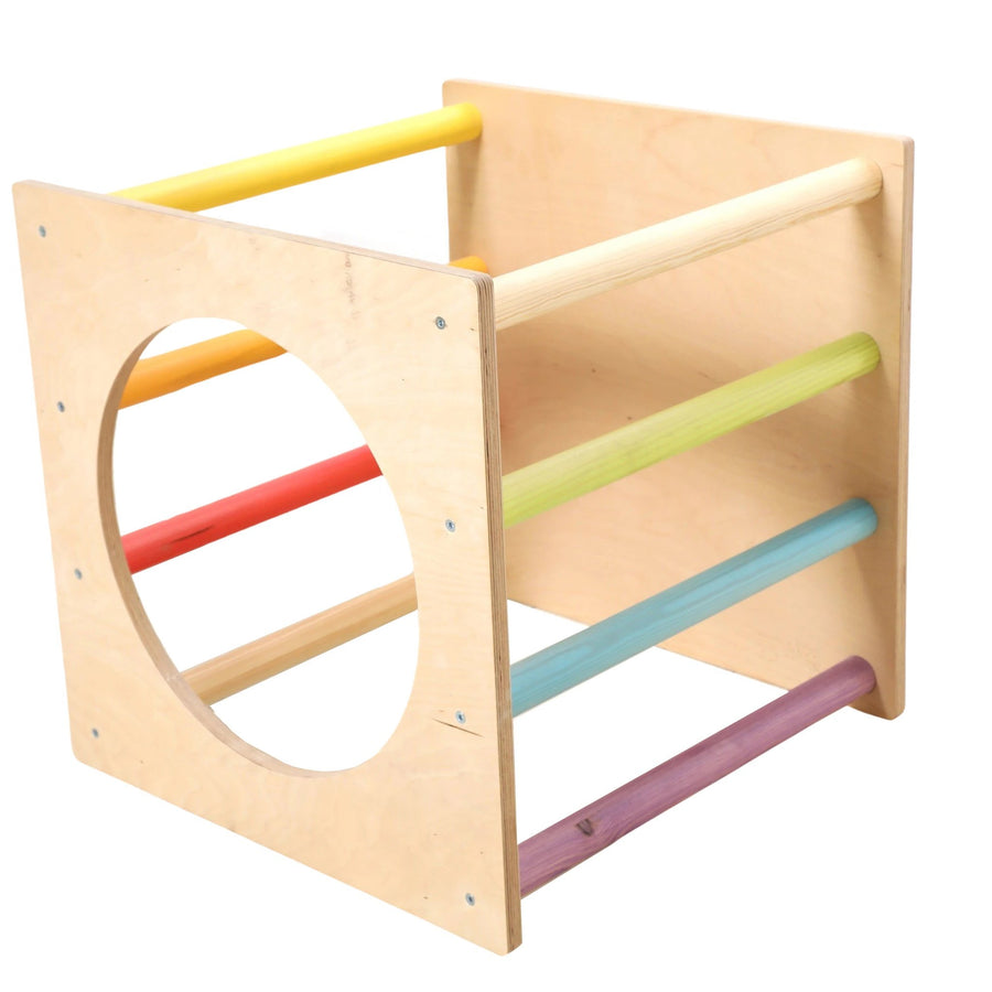 Sawdust Rainbows Open Wooden Pikler Climbing Cube | Bella Luna Toys