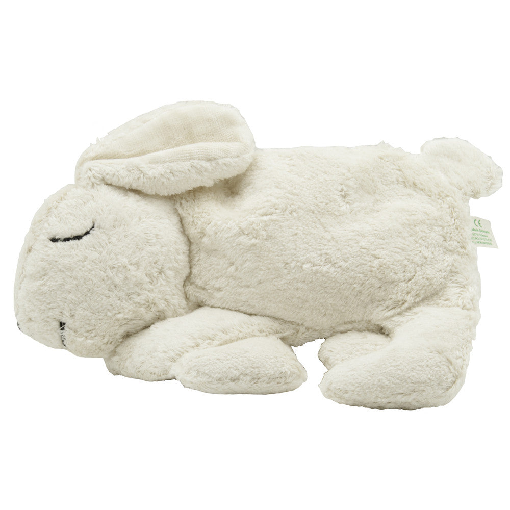 Organic White Bunny Rabbit Warming Pillow, cherry stone filling