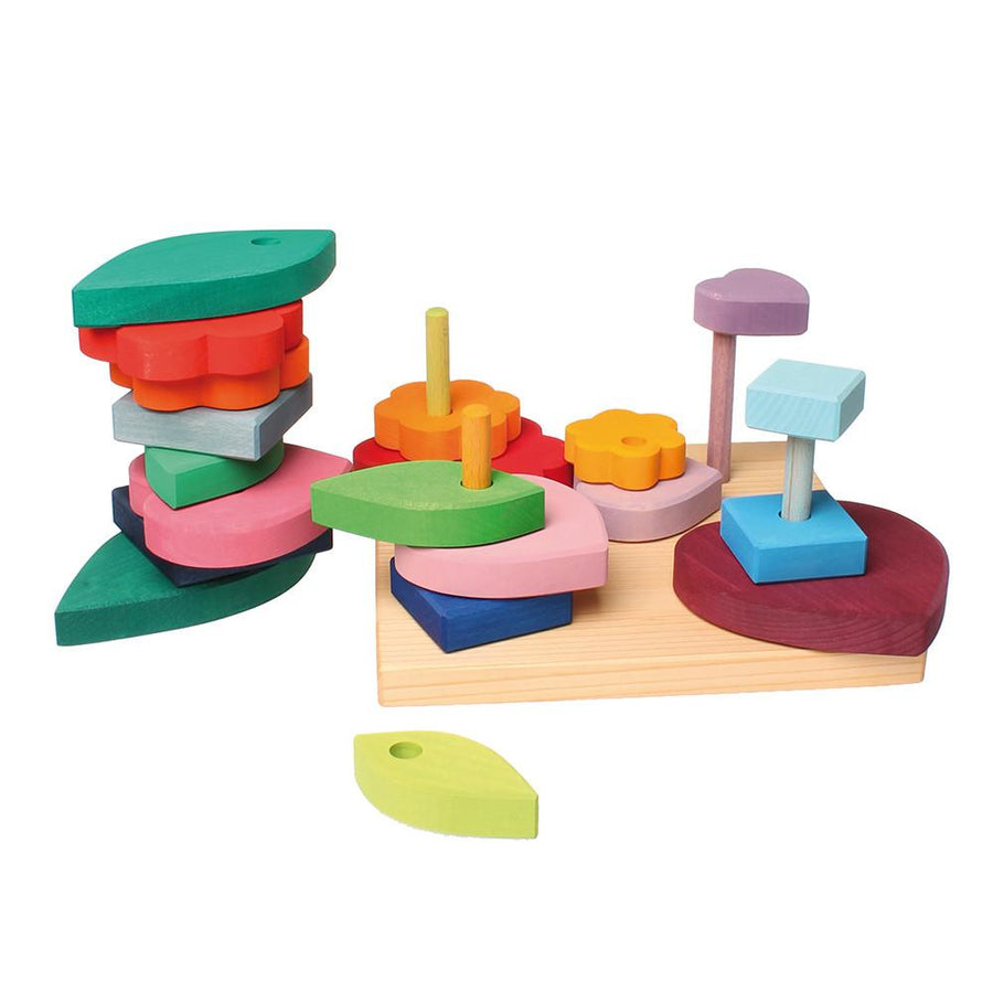 Grimm's Shapes and Colors - Wooden Stacking and Sorting Toy