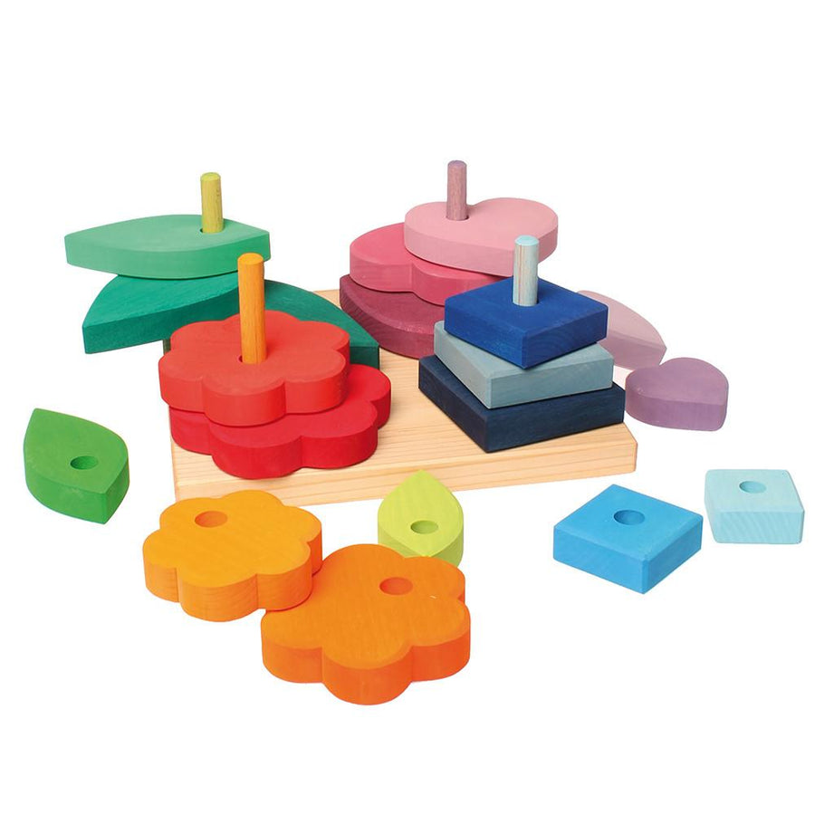 Grimm's Shapes and Colors - Wooden Sorting and Stacking Toy