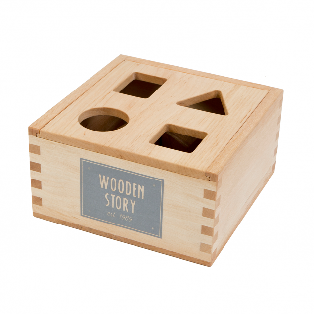 Natural Shape Sorter Box - Wooden Story - Bella Luna Toys