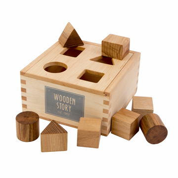 Natural Shape Sorter Box with Pieces - Wooden Story - Bella Luna Toys