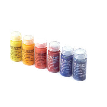 Stockmar Paint Colors (from L to R): Yellow, Golden Yellow, Vermilion, Red, Ultramarine Blue, Prussian Blue