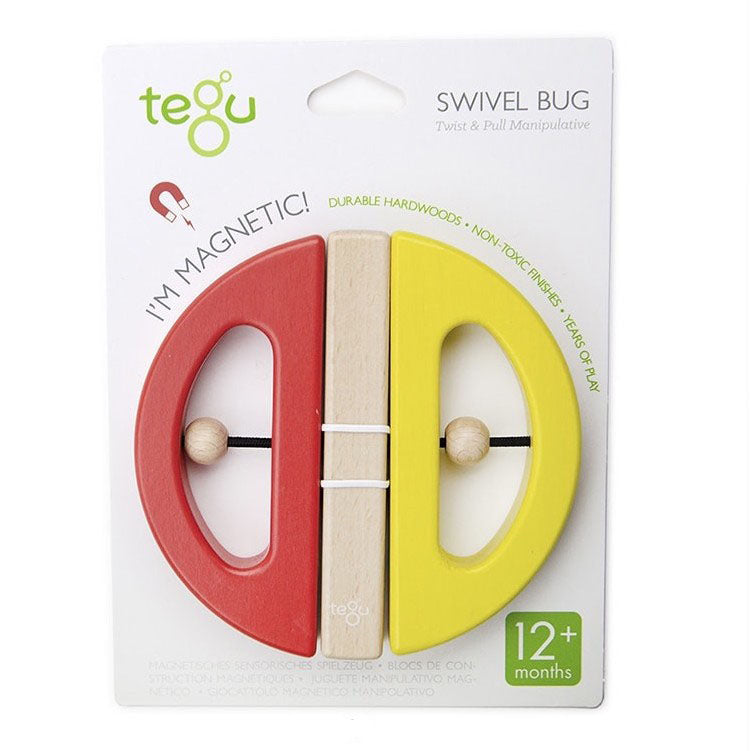 Tegu Wooden Magnetic Swivel Bug, Yellow and Poppy in Package - Bella Luna Toys