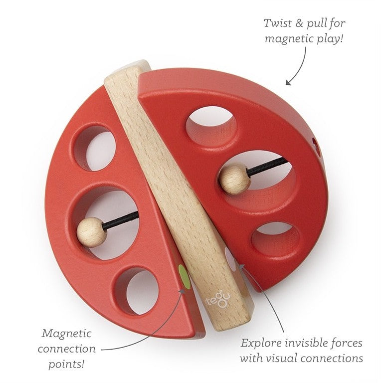 Tegu Swivel Bug - Magnetic Wooden Baby Toy - Red - Bella Luna Toys