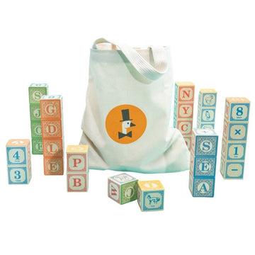 Uncle Goose Wooden Alphabet ABC Blocks | Canvas Bag | Bella Luna Toys