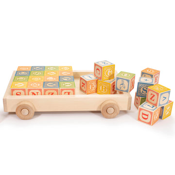 Uncle Goose ABC Blocks with Wagon - Bella Luna Toys
