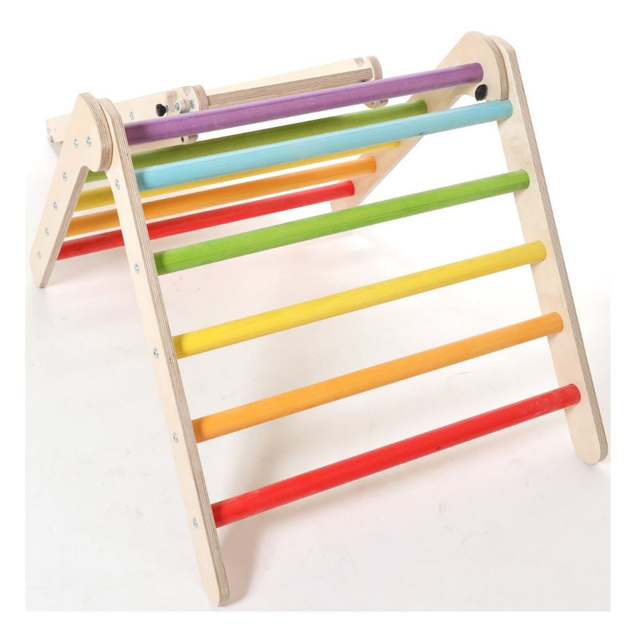 Pikler Triangle - Foldable Wooden Climbing Frame - Rainbow - Bella Luna Toys