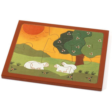 Sheep and Lambs Kids Wooden Jigsaw Puzzle - Weizenkorn - Bella Luna Toys