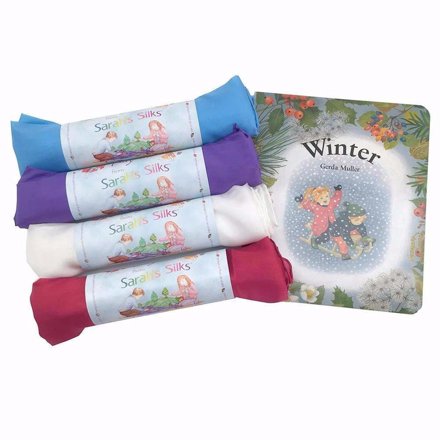 Sarah's Silks Winter Play Silks Board Book Set - Bella Luna Toys
