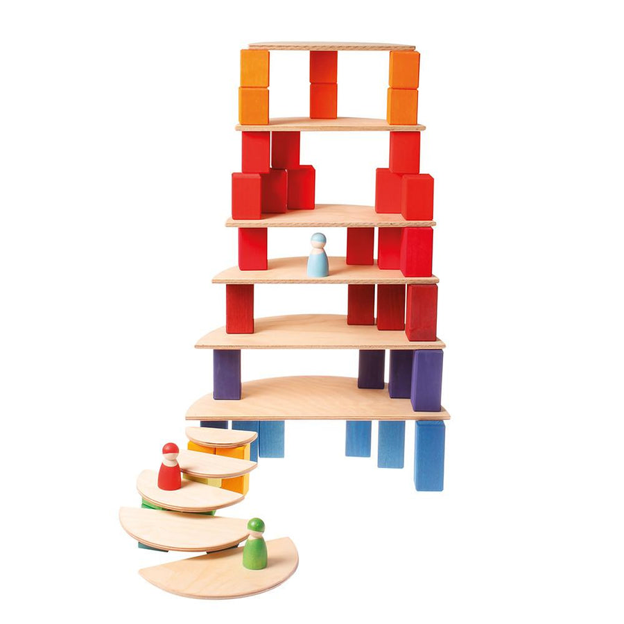 Wooden Semicircle Platform Building Set - Natural
