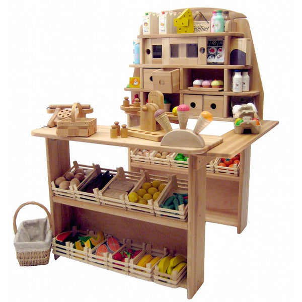 Wooden Play Pretend Grocery Store Market Stand, ...