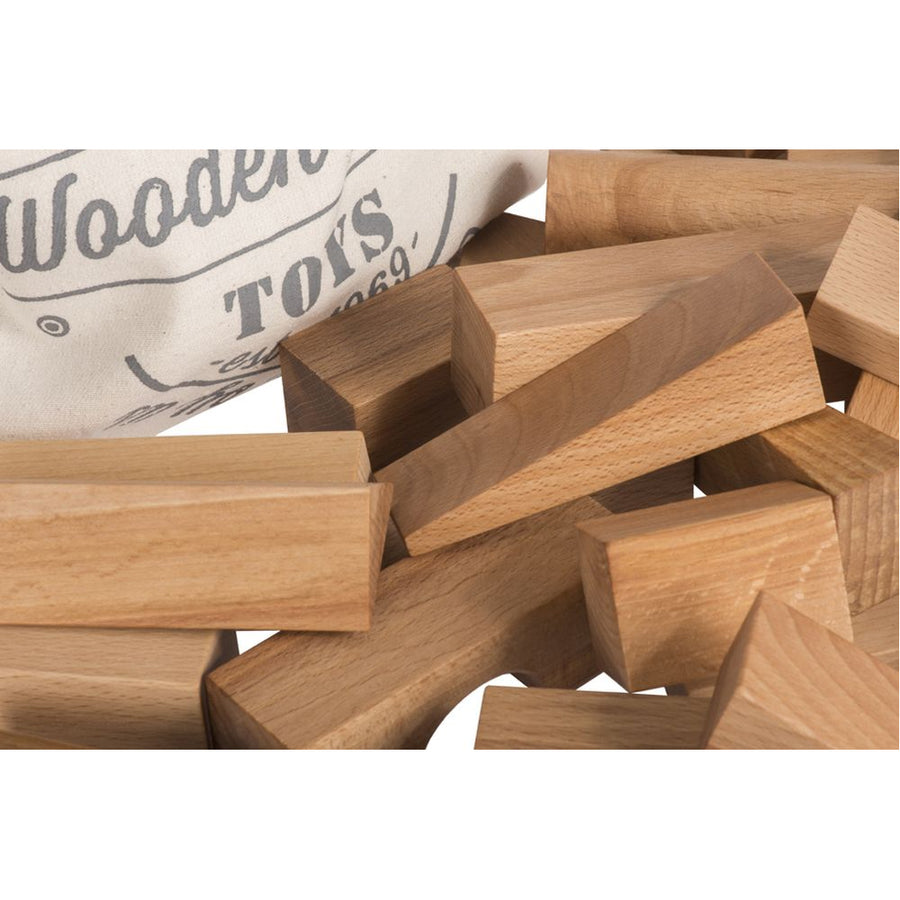 Natural Wooden Building Blocks Set - 50 Pieces