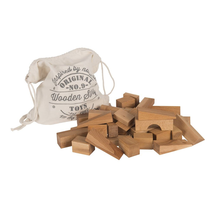 Natural Blocks in Sack - 50 Piece - Wooden Story No. 9 - Bella Luna Toys