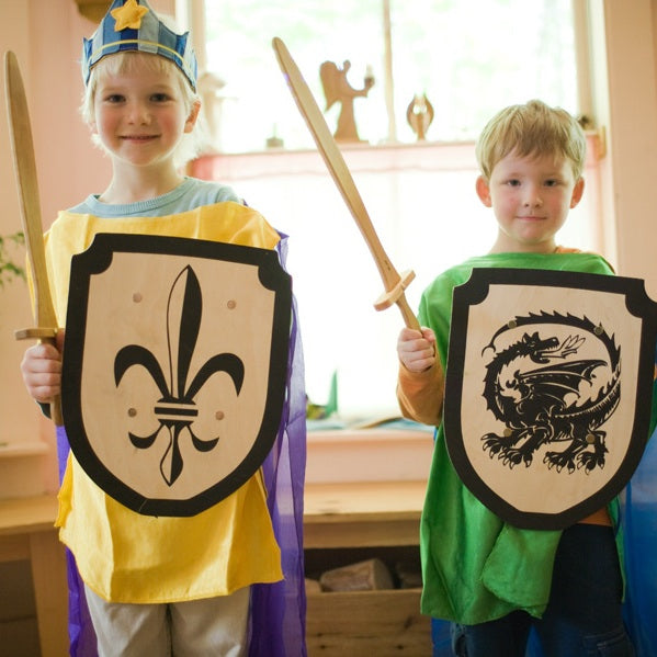 Wooden Toy Sword & Dragon Shield Set