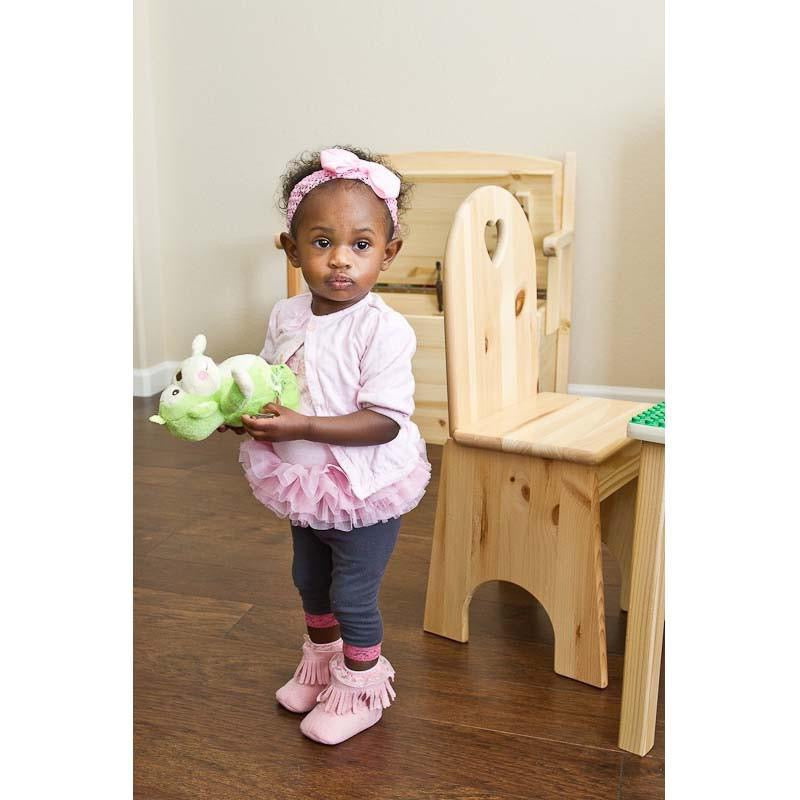 Wooden Toddler Chair with Heart Cut-Out, Girl