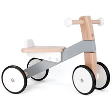 Wooden Toddler Trike - Tricycle Ride-On Toy  - Gray and White - Bella Luna Toys - Bajo - Bajocycle