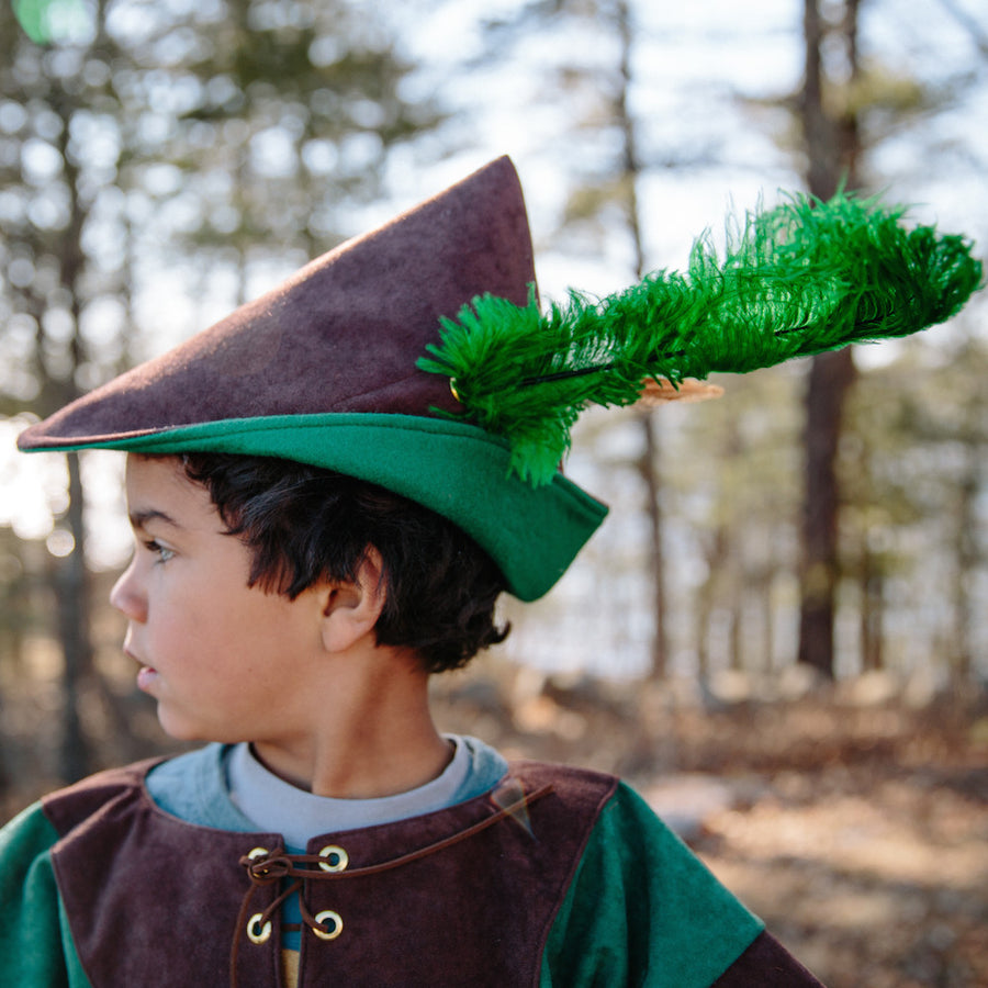 Woodsman's Robin Hood Hat - Brown with Green Feather
