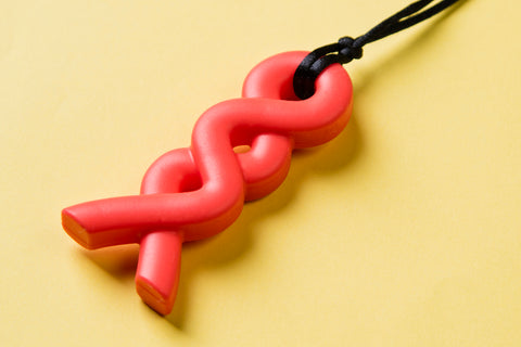 Coral Twist Teething Pendant