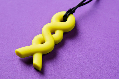 Yellow Twist Teething Pendant