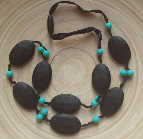 MikaB Teething Jewellery Black and Turquoise Necklace