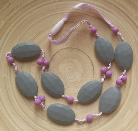 MikaB Teething Jewellery Grey and Purple Necklace
