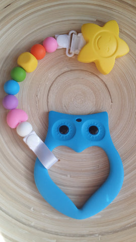 MikaB Teething Jewellery Colourful Pacifier Clip with Blue Owl Teether Set