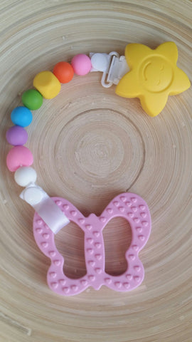 MikaB Teething Jewellery Colourful Pacifier Clip with Pink Butterfly Teether Set