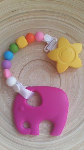 MikaB Teething Jewellery Colourful Pacifier Clip with Pink Elephant Teether Set