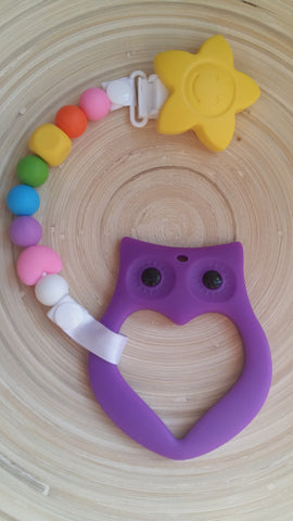 MikaB Teething Jewellery Colourful Pacifier Clip with Purple Owl Teether Set