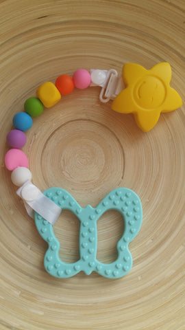 MikaB Teething Jewellery Colourful Pacifier Clip with Turquoise Butterfly Teether Set