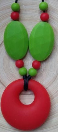 Red Circle Teething Pendant with Small Beads