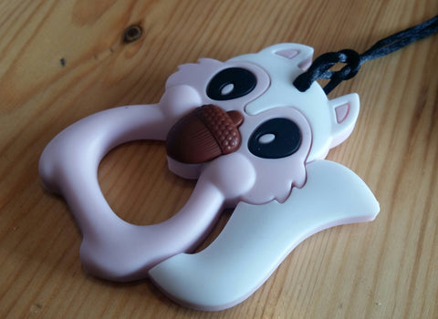 Squirrel Light Pink Teething Pendant
