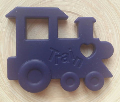 MikaB Teething Jewellery Navy Train Teether