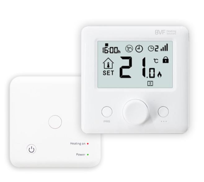 Programmable Radio Frequency Room Thermostat 2 piece, battery op thermostat and receiver.-UK Infrared Heating Company