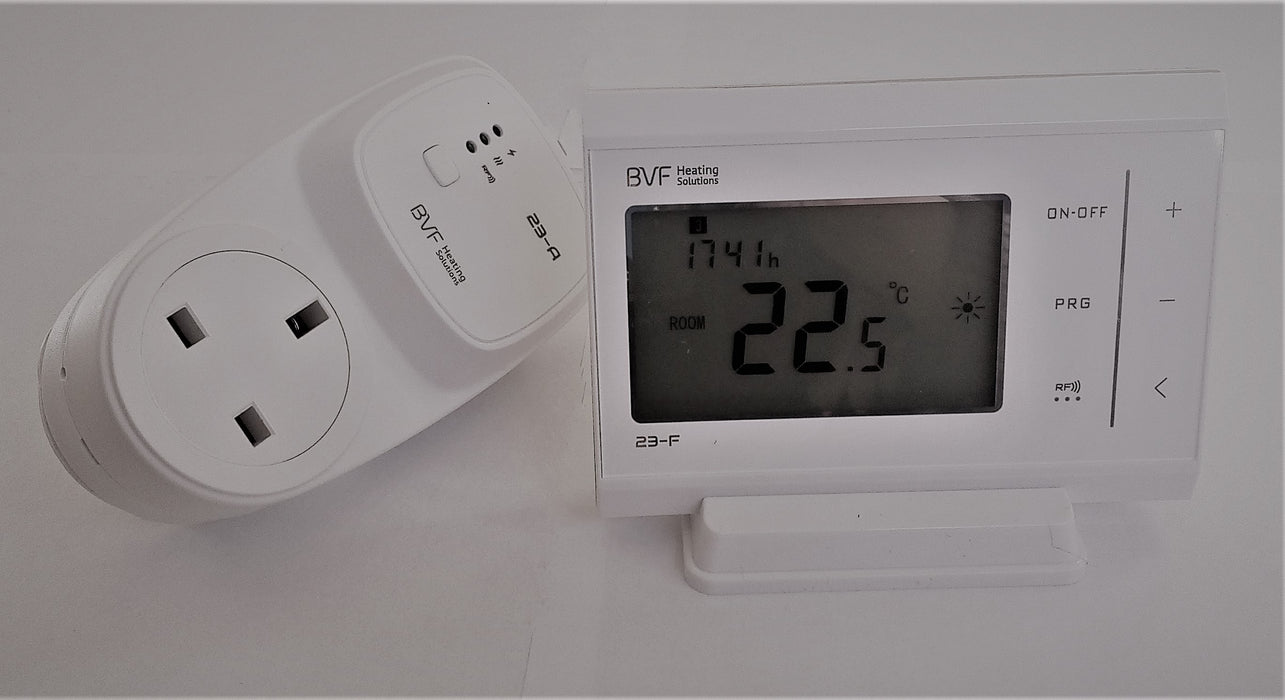 Plug-in Programmable Radio Frequency Room Thermostat.-UK Infrared Heating Company