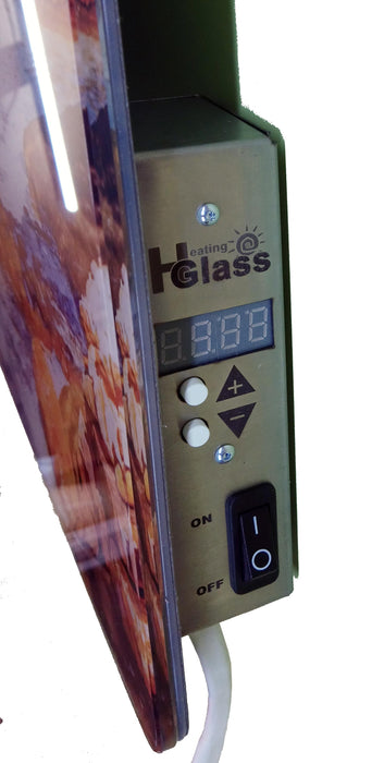 Glass Infrared Heater Picture with built in thermostat 400W-UK Infrared Heating Company