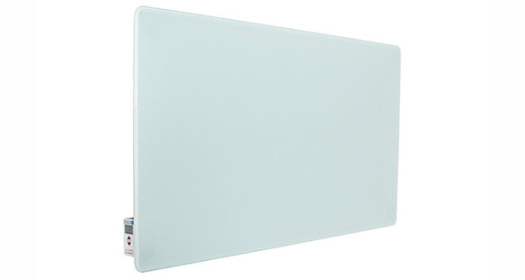 Far Infrared Heaters with built in thermostat. Glass, White, infrared heating Panels. 450W.-UK Infrared Heating Company