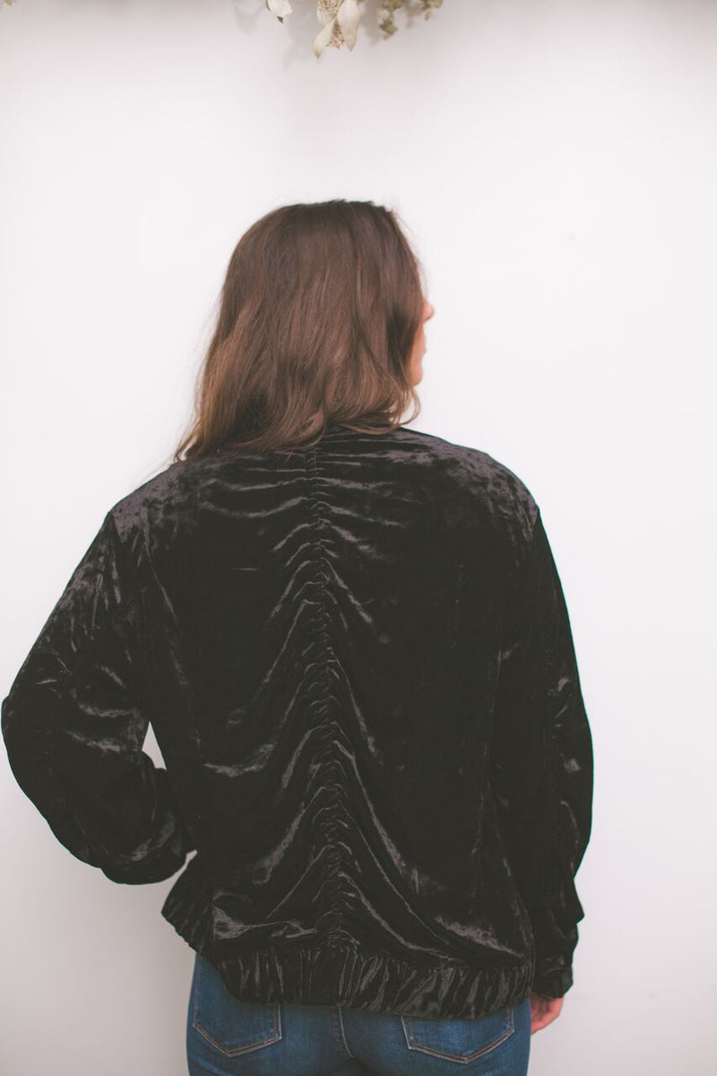 Soft Side Velvet Bomber Jacket in Black