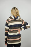 Soft Brushed Strip Print Knit Top