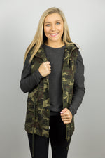 Camouflage Drawstring Waist Military Hoodie Vest